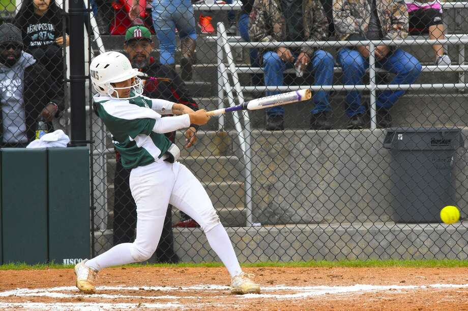 Spring sophomore catcher Chloe Gomez, McNeese State commit, has been selected as the Most Valuable Player in voting on the All-District 16-6A softball team while Lions head coach Julie Wyrick was selected Coach of the year. Photo: Tony Gaines / HCN / HCN