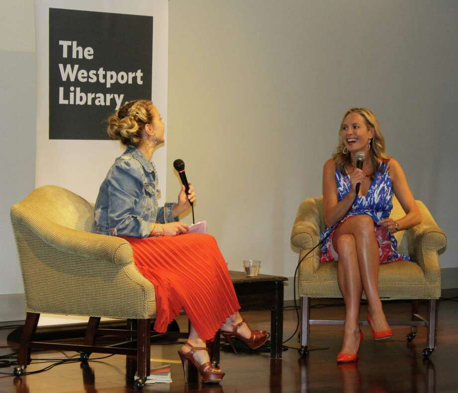 "Westport resident and TV style icon Jenn Falik hosted a conversation with fellow town resident, author Lauren Weisberger, about her new bookm, ""When Life Gives you Lululemons,"" a sequel to Weisberger's hit book, ""The Devil Wears Prada."" The event was hosted by The Westport Library and Westport Moms at the Saugatuck Congregational Church on June 5. Photo: Sophie Vaughan / Hearst Connecticut Media / Westport News"