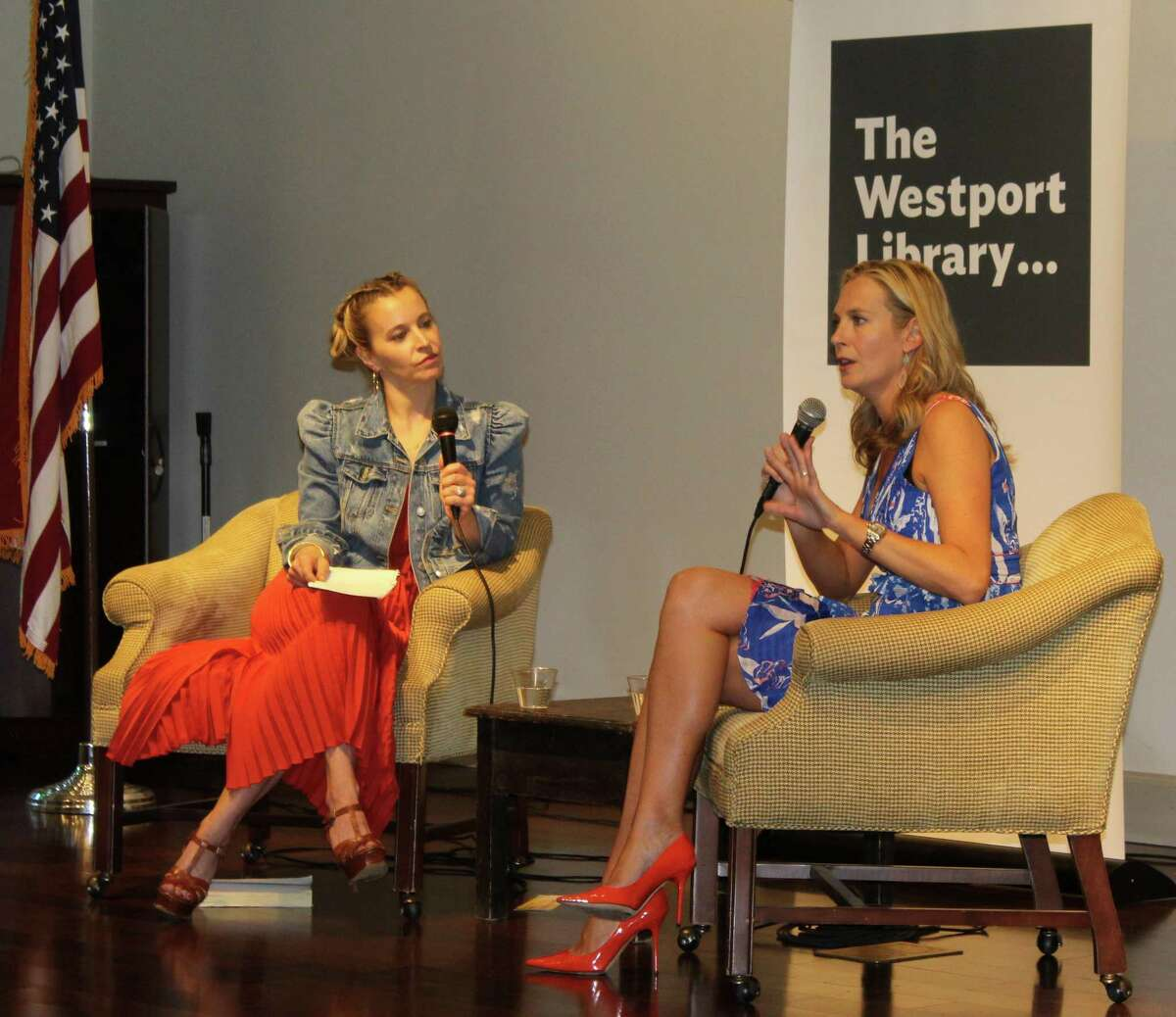 Westport resident and TV style icon Jenn Falik (left) hosted a conversation with fellow town resident, author Lauren Weisberger, about her new bookm,