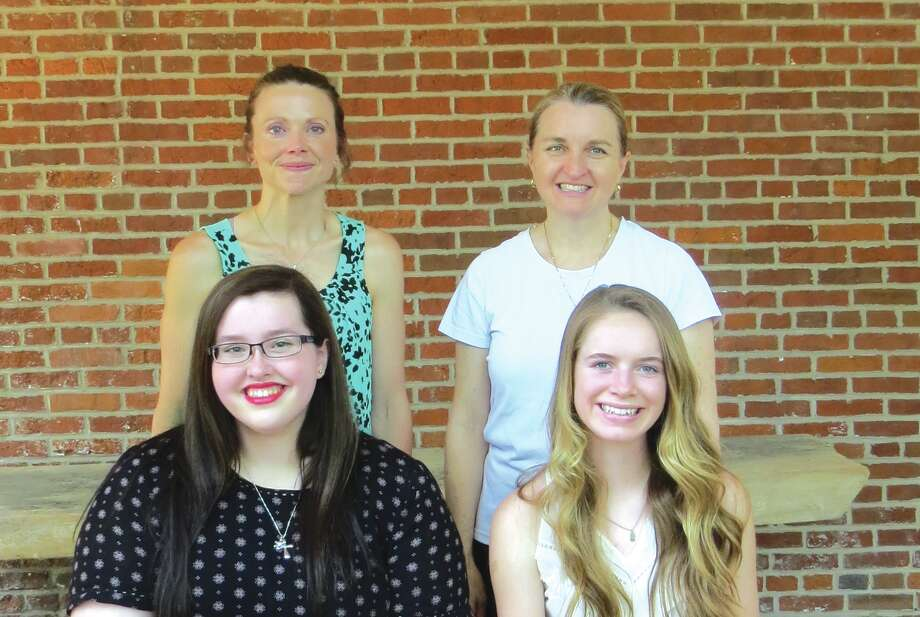 Two local P.E.O. chapters recently gave the P.E.O. Star Scholarship to two local high school graduates. Emily Klingensmith and Pam Farrar, from the P.E.O., stand behind scholarship winners Mackenzie Scott and Kennison Adams.
