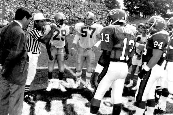 Referee John Soffey works the first Big East football game Aug. 31, 1991