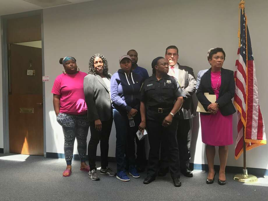 Family members of Tyekque Nesbitt participated in a press conference at the New Haven Police Department on Wednesday, June 6, 2018. Photo: Jessica Lerner / Hearst Connecticut Media
