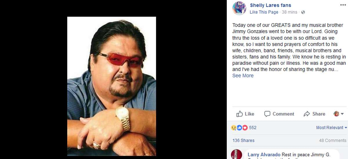 Shelly Lares: Today one of our GREATS and my musical brother Jimmy Gonzales went to be with our Lord. Going thru the loss of a loved one is so difficult as we know, so I want to send prayers of comfort to his wife, children, band, friends, musical brothers and sisters, fans and his family.