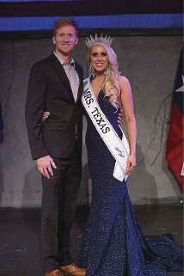 Brittney Bates is pictured with her husband, Zachary, after winning the Mrs. Texas United States title on May 5 in San Antonio. The county native will go on to compete in the Mrs. United States competition in early July in Orlando.