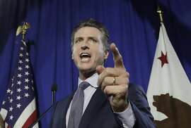 Democratic Lt. Gov. Gavin Newsom speaks at his gubernatorial campaign's primary night watch party in San Francisco, Tuesday, June 5, 2018. (AP Photo/Jeff Chiu)