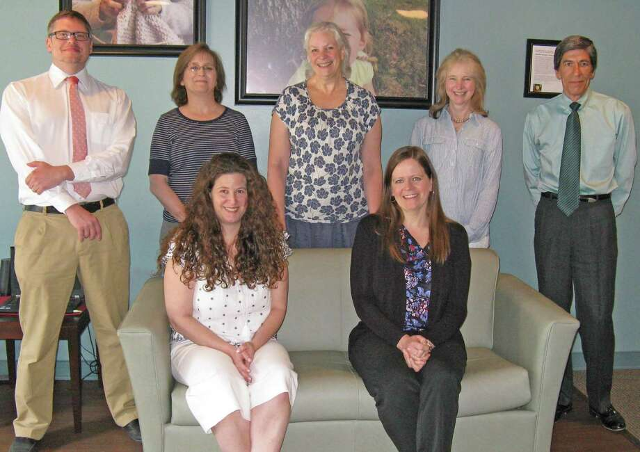 The staff of the Northwest Connecticut Community Foundation, from left, back row: Bradford Hoar, vice president of philanthropic services; Leslie Friscia, finance director; Julia Scharnberg, grants and program director; Lorraine Haddock, assistant to the president; Guy Rovezzi, president and CEO. Front, Nicole Easley, communications director; Christina Tranquillo, program and communications associate. Photo: Contributed Photo
