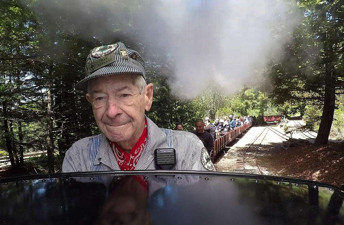 Redwood Valley Railway chief engineer Ray Pimlott operates the No. 7 �Oak� steam locomotive while leading passengers on a train ride through Tilden Park in Orinda, Calif. on Saturday, May 19, 2018.