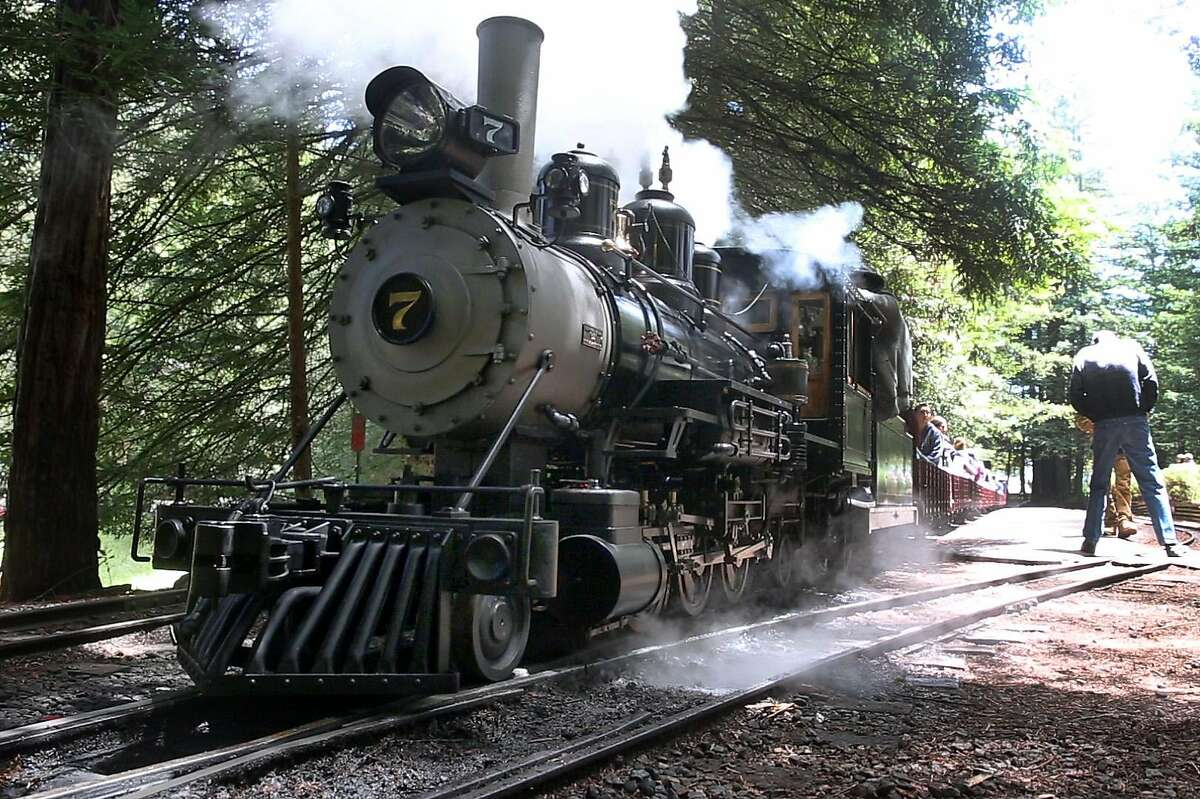 The No. 7 �Oak� steam locomotive, with chief engineer Ray Pimlott aboard, is ready to depart for a run with passengers on the Redwood Valley Railway at Tilden Park in Orinda, Calif. on Saturday, May 19, 2018.