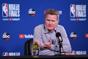 OAKLAND, CA - MAY 31:  Steve Kerr of the Golden State Warriors addresses the media after Game 1 of the 2018 NBA Finals at ORACLE Arena on May 31, 2018 in Oakland, California. NOTE TO USER: User expressly acknowledges and agrees that, by downloading and or using this photograph, User is consenting to the terms and conditions of the Getty Images License Agreement.  (Photo by Thearon W. Henderson/Getty Images)