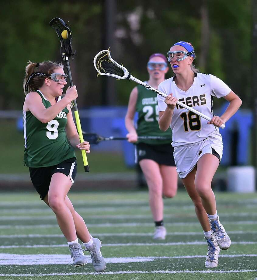 Hand defeats Guilford, 16-8, in the CIAC Class M semifinal lacrosse game, Tuesday, June 5, 2018, at Ken Strong Stadium at West Haven High School. Photo: Catherine Avalone / Hearst Connecticut Media / New Haven Register
