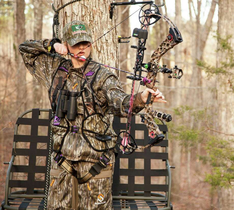 Deer hunting from a tree stand requires a safety harness and starting this month women will have a specially designed safety harness with safety strap available. Photo: Howard Communications
