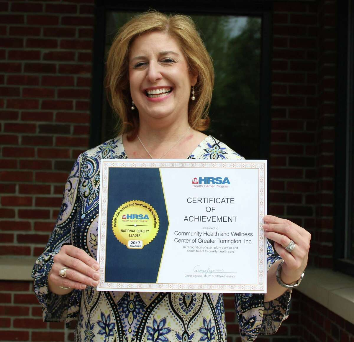 Community Health & Wellness Center, based in Torrington, recently received the National Quality Leader Award from the Health Resources and Services Administration. Pictured is CEO Joanne Bourdas.