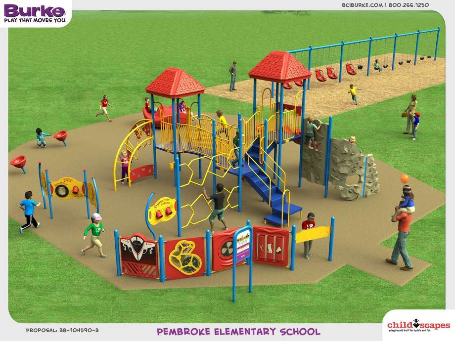 A rendering by playground design firm Childscapes illustrates the type of equipment that could be included in a new Pembroke Elementary School playground made more accessible for special needs students. Photo: / Submitted Image