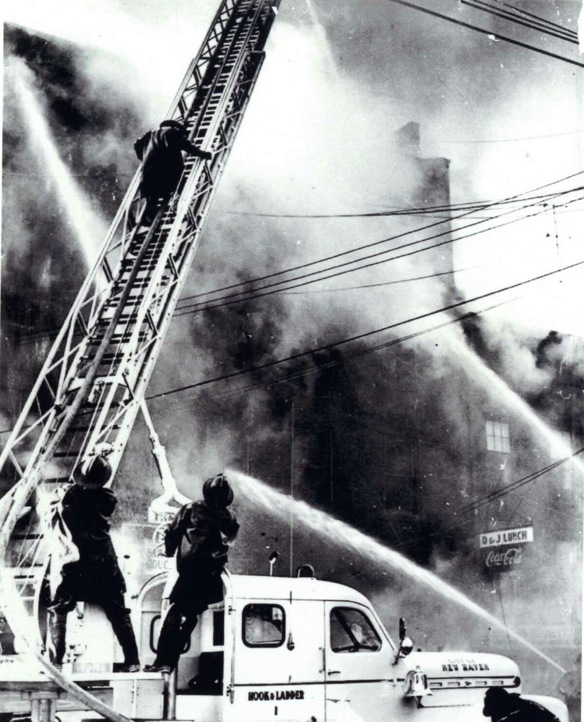 Scenes from the deadly 1957 Franklin Street fire and its aftermath in New Haven.