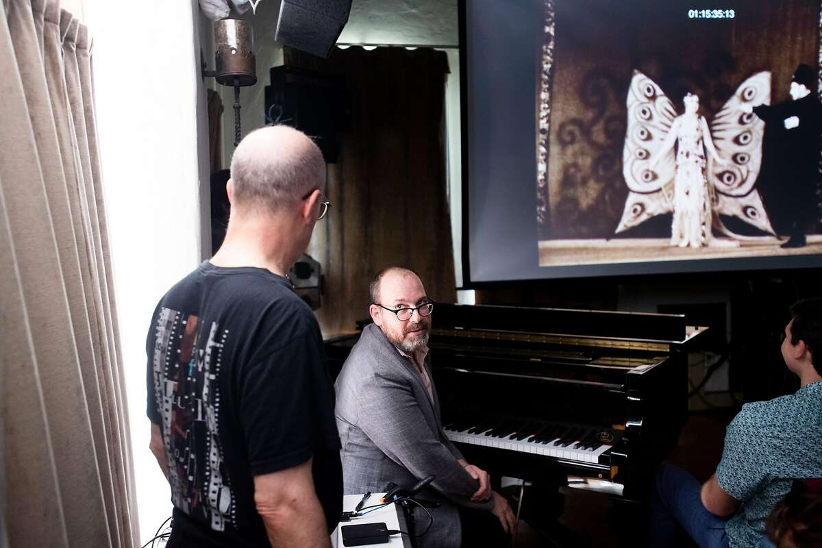 Wayne Barker sits in on piano during Donald Sosin's class on silent film musical accompaniment on Monday, June 4, 2018, in Berkeley, Calif.