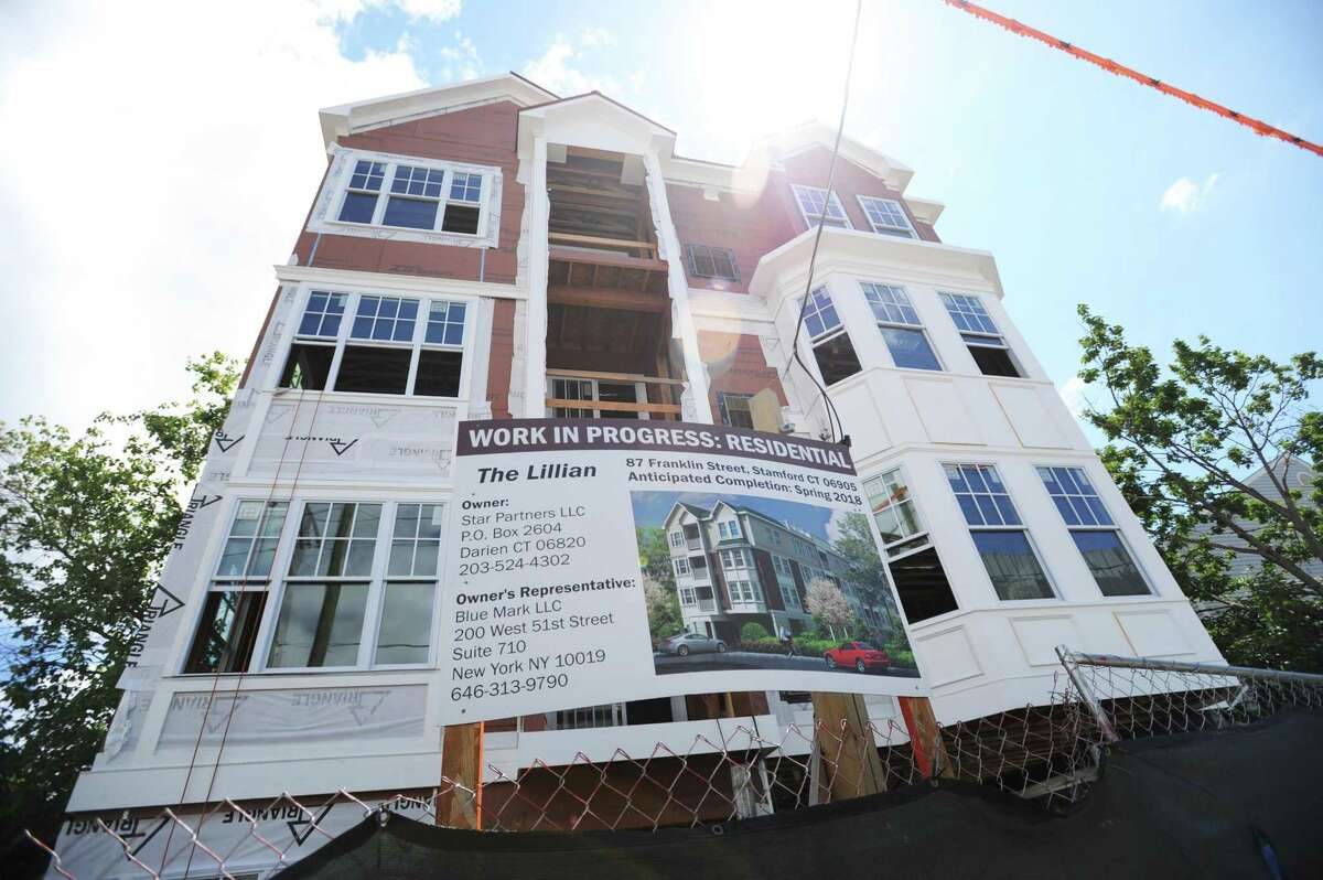 """The currently-being-built 13-unit building called """"Lillian"""" at 87 Franklin St. is being considered as student housing for UConn Stamford students. Photographed in downtown Stamford, Conn. on Wednesday, June 6, 2018."""