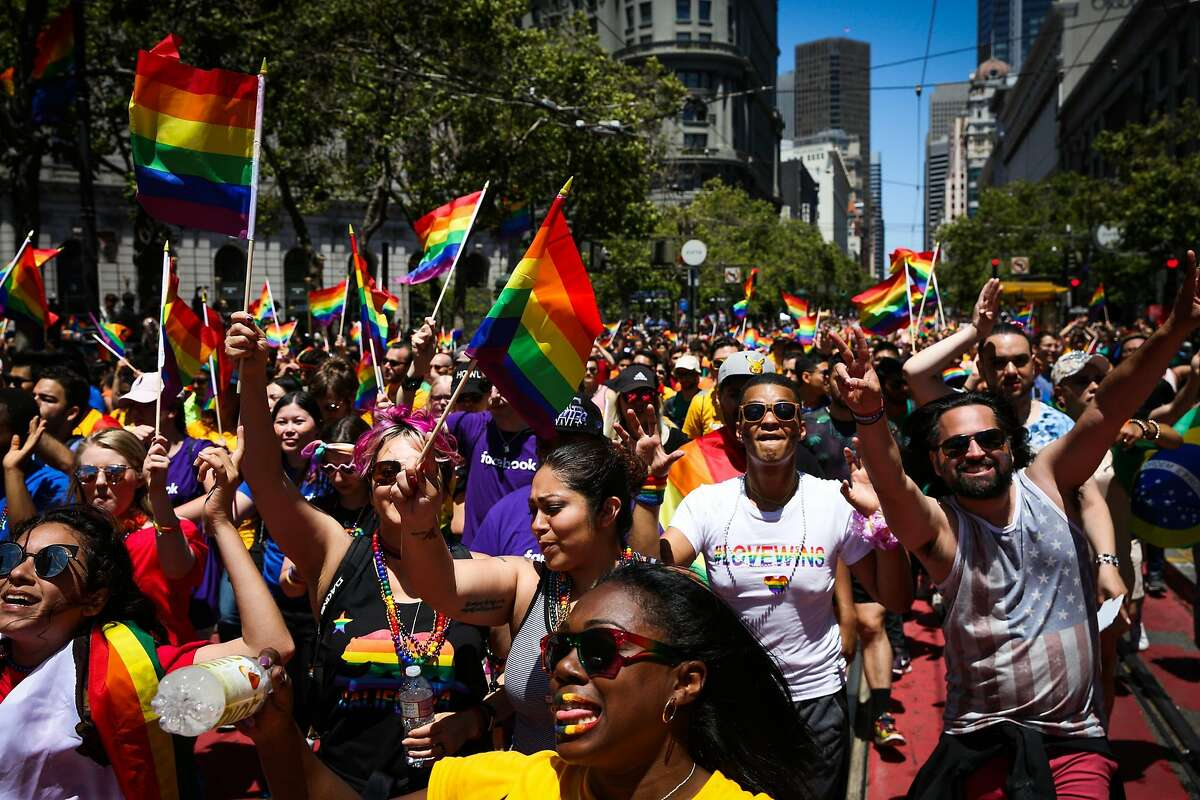 People march during the Pride Parade in San Francisco, California, on Sunday, June 25, 2017.