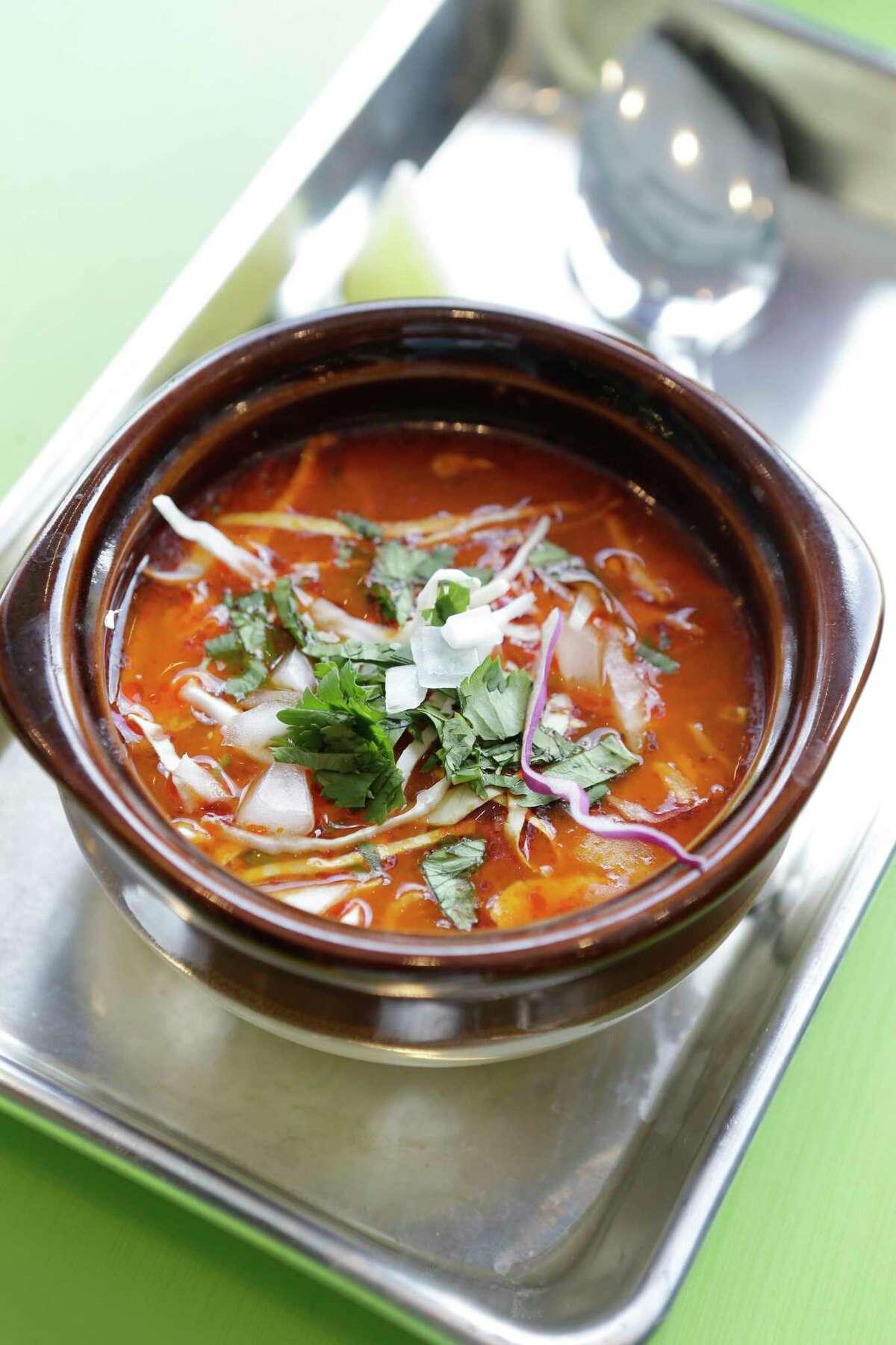 Pozole chicken soup at Dream Tacos TX, 3773 Richmond.