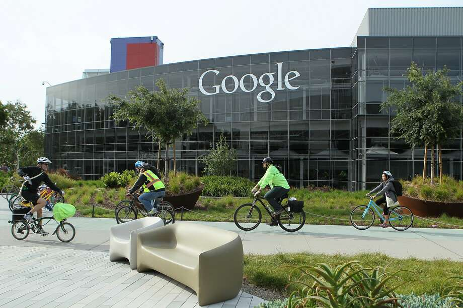 Cyclists make their way around the Googleplex during Bike to Work Day, Thursday, May 14, 2015, in Mountain View, Calif. The company provided fueling stations, sports massages, a DJ and breakfast to get employees pumped up for biking. Google estimates more than 2,200 employees biked to work today. Photo: Santiago Mejia / The Chronicle 2015