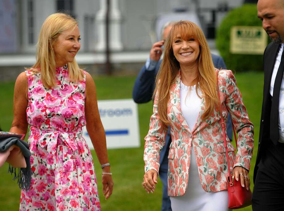 Director of the Norma Pfriem Breast Center Donna Twist, left, and actress and Keynote Speaker Jane Seymour at the Rose of Hope Annual Luncheon at the Fairfield County Hunt Club in Westport, Conn. on Wednesday, June 6, 2018. Photo: Brian A. Pounds / Hearst Connecticut Media / Connecticut Post