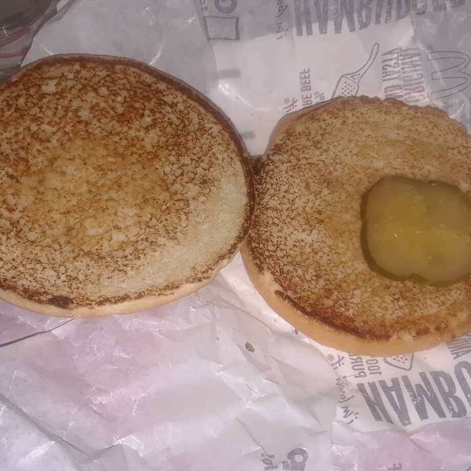 Ordered my daughters a plain hamburger with extra pickle from #mcdonalds and this is literally what I saw when I unwrapped it. Photo: Amanda Cuda / For Hearst Connecticut Media