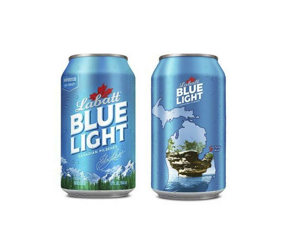 These limited-edition 'Loving Michigan' graphic cans of Labatt Blue Light feature Huron County's Turnip Rock. (Courtesy Photo)