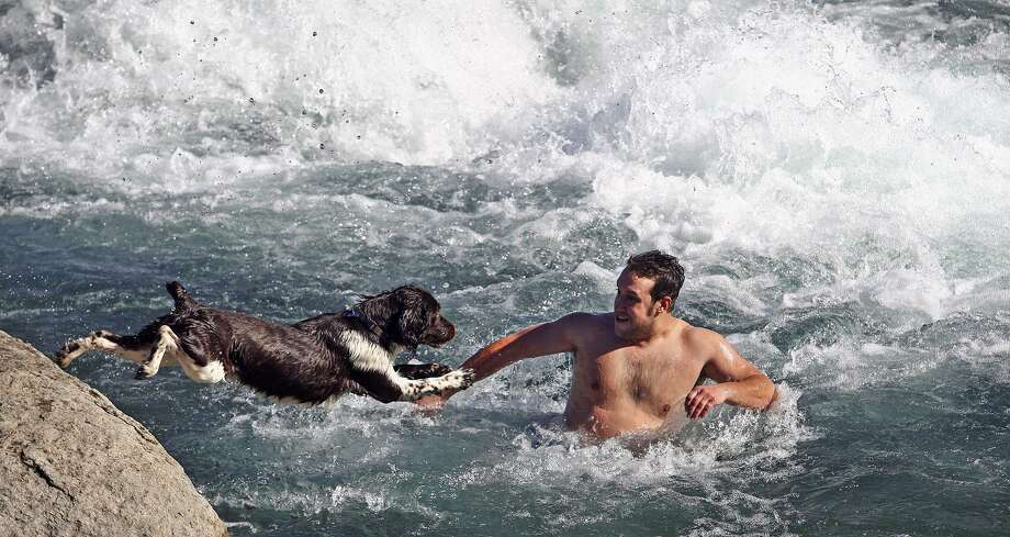 Okay, I'll follow you anywhere. Matt Dyas, a Texas State University student, convinced his dog Bocephus to jump into the San Marcos River rapids at Rio Vista Dam in 2009. Tom Reel/Staff Photo: TOM REEL /SAN ANTONIO EXPRESS-NEWS / treel@express-news.net