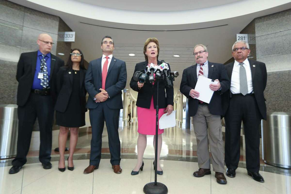 Harris County District Attorney Kim Ogg and her team announced a Temporary Restraining Order to close Bombshells,12810 Gulf Freeway in the civil courthouse Wednesday, June 6, 2018, in Houston.
