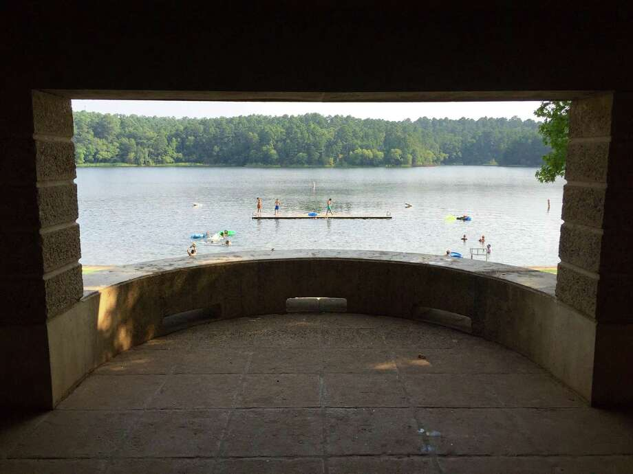 A view of the swimming beach through one of the picnic pavilions at Tyler State Park. Photo: Courtesy Dale Blasingame