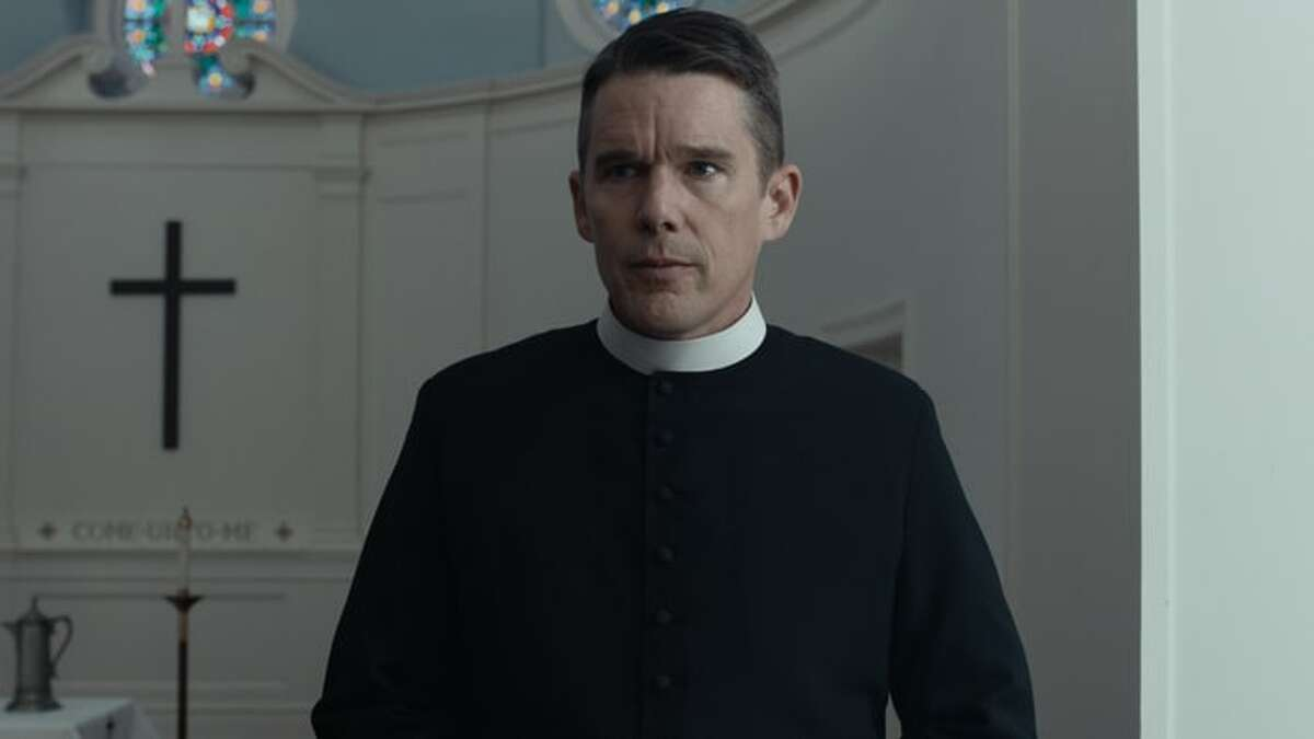 """Ethan Hawke plays a priest struggling with his position in the Paul Schrader film """"First Reformed."""""""