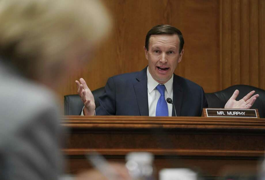 Senate Subcommittee on Labor, Health and Human Services, Education, and Related Agencies Appropriations member Sen. Chris Murphy, D-Conn., questions Education Secretary Betsy DeVos, left, during a Senate Subcommittee on Labor, Health and Human Services, Education, and Related Agencies Appropriations hearing to review the Fiscal Year 2019 funding request and budget justification for the U.S. Department of Education on Capitol Hill in Washington, Tuesday, June 5, 2018. Photo: Carolyn Kaster / Associated Press / Copyright 2018 The Associated Press. All rights reserved.
