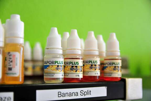 FILE � Banana Split is one of the best-selling flavors at an e-cigarette shop in Oklahoma City, July 2, 2014. Voters in San Francisco supported a ban on the sale of flavored tobacco products, including vaping liquids packaged as candies and juice boxes and menthol cigarettes. (Nick Oxford/The New York Times)