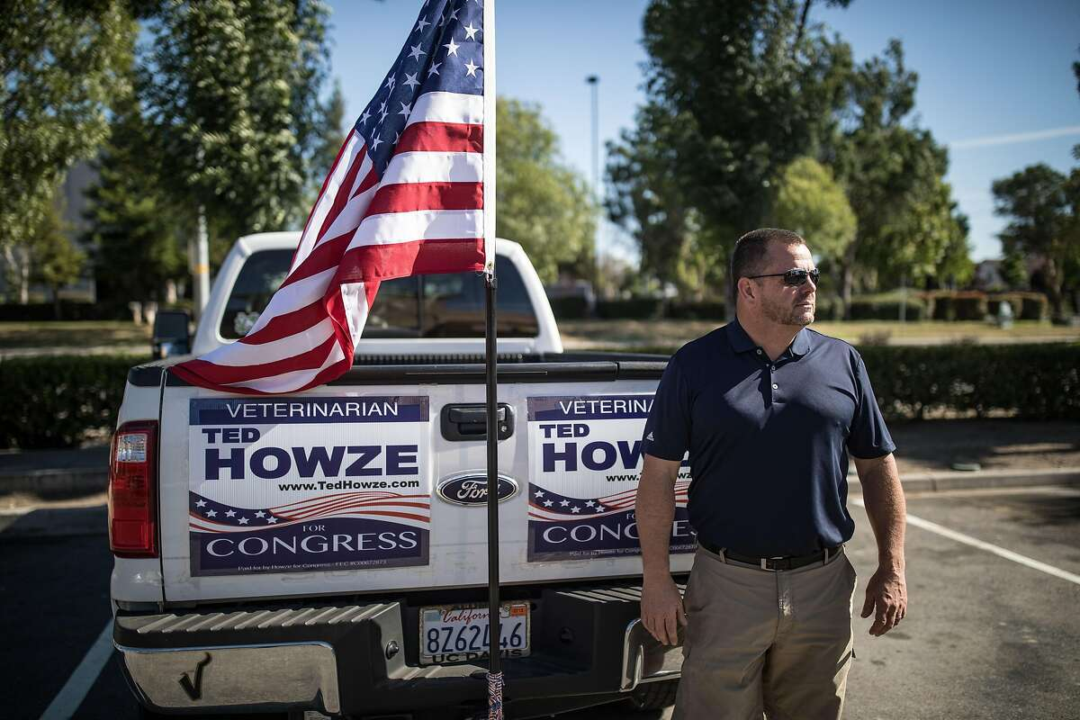**RETRANSMISSION TO CORRECT CREDIT TO JOSH HANER.** Ted Howze, a candidate in the 10th Congressional District, in Tracy, Calif., June 4, 2018. Tuesday is a big Election Day in California, and the country is watching. Democrats are battling to make sure they are not shut out of three Republican-held congressional districts that otherwise seem ripe for Democratic takeovers. (Josh Haner/The New York Times)