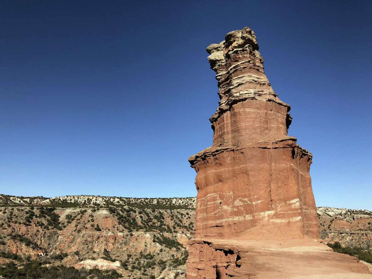 Exposed rock along Palo Duro Canyon State Park?'s Givens-Spicer-Lowry Trail, headed to the Lighthouse Trail, dates back more than 250 million years.