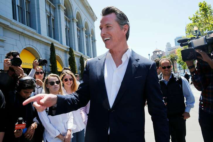 Gavin Newsom greets supporters outside the Ferry Building, Wednesday, June 6, 2018, in San Francisco, Calif. Lt. Gov. Newsom (D) will face Republican businessman John Cox in the race to be the next Governor of California.