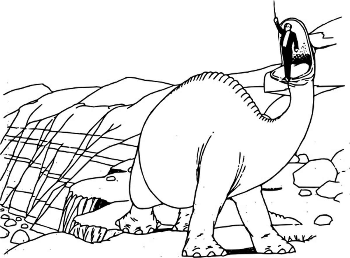 """Winsor McCay with his trained Dino in a frame from """"Gertie the Dinosaur"""" (1914). Public domain image courtesy of wpclipart.com"""