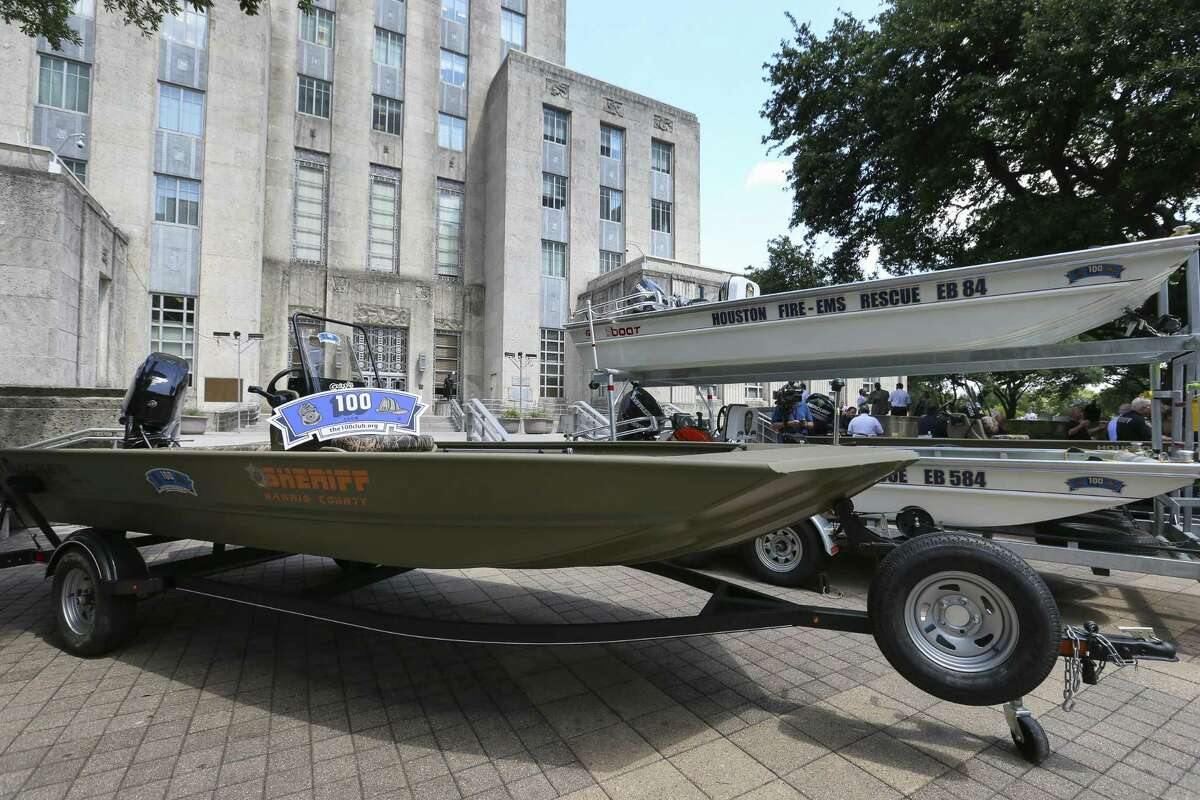 The 100 Club donated 14 rescue boats to the Houston Police Department, Houston Fire Department and the Harris County Sheriff's Office and four boats are present at City Hall on Wednesday, June 6, 2018, in Houston. HPD received 5 boats, HFD received 4 boats and HCSO received 5 boats. ( Yi-Chin Lee / Houston Chronicle )