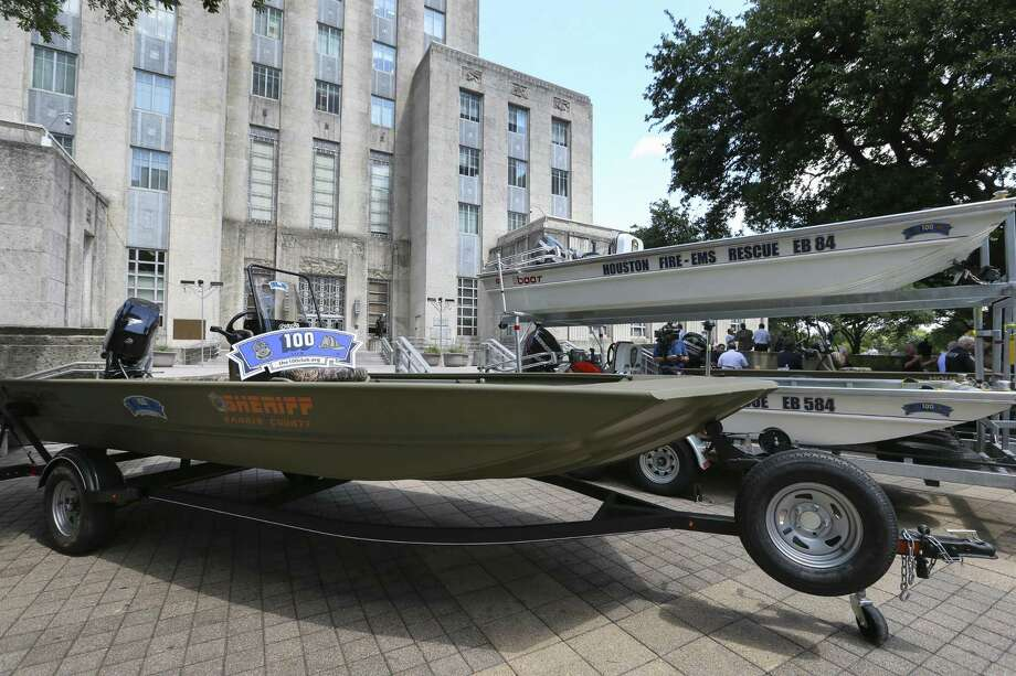 The 100 Club donated 14 rescue boats to the Houston Police Department, Houston Fire Department and the Harris County Sheriff's Office and four boats are present at City Hall on Wednesday, June 6, 2018, in Houston. HPD received 5 boats, HFD received 4 boats and HCSO received 5 boats. ( Yi-Chin Lee / Houston Chronicle ) Photo: Yi-Chin Lee / Houston Chronicle / © 2018 Houston Chronicle