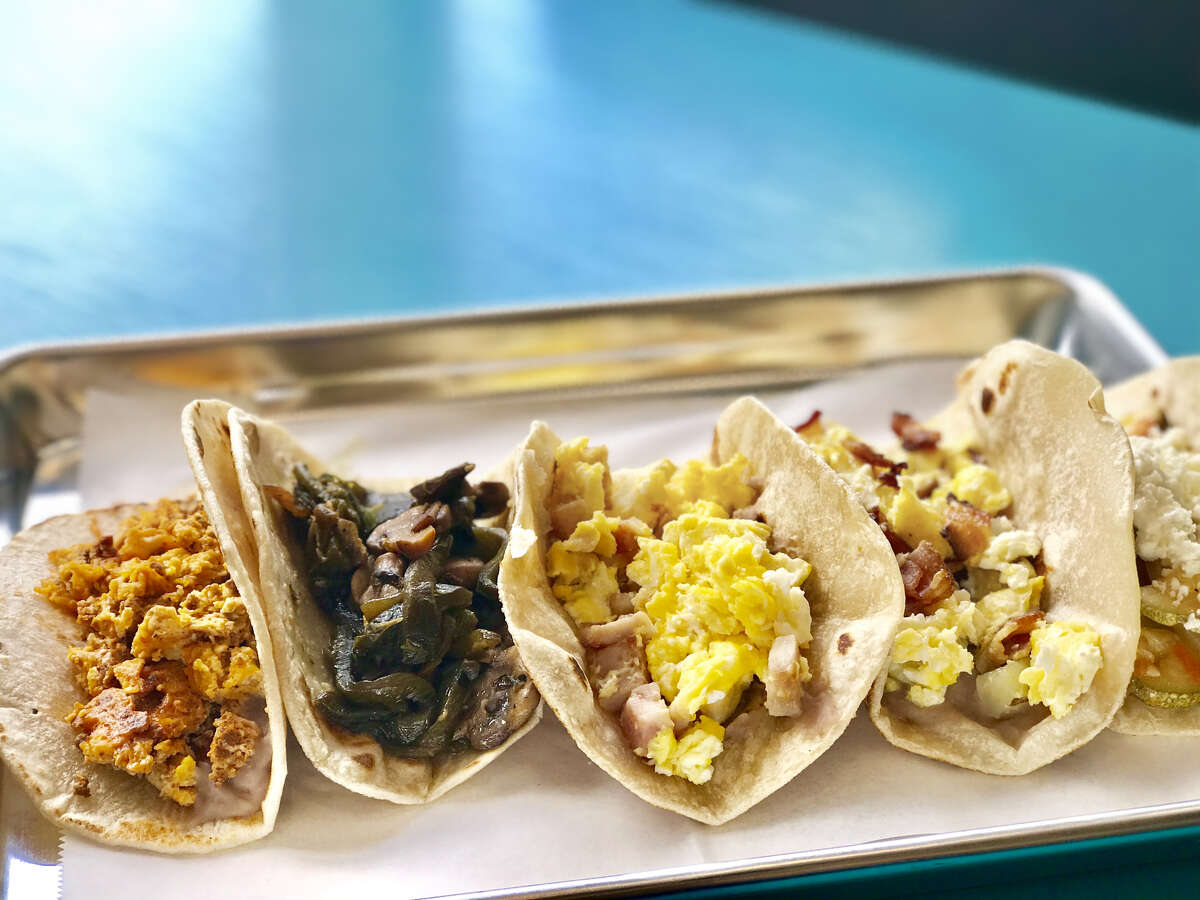 Assorted breakfast tacos at the new Dream Tacos TX from restaurateurs Jenni and Scott Tranweaver of Jenni's Noodle House.