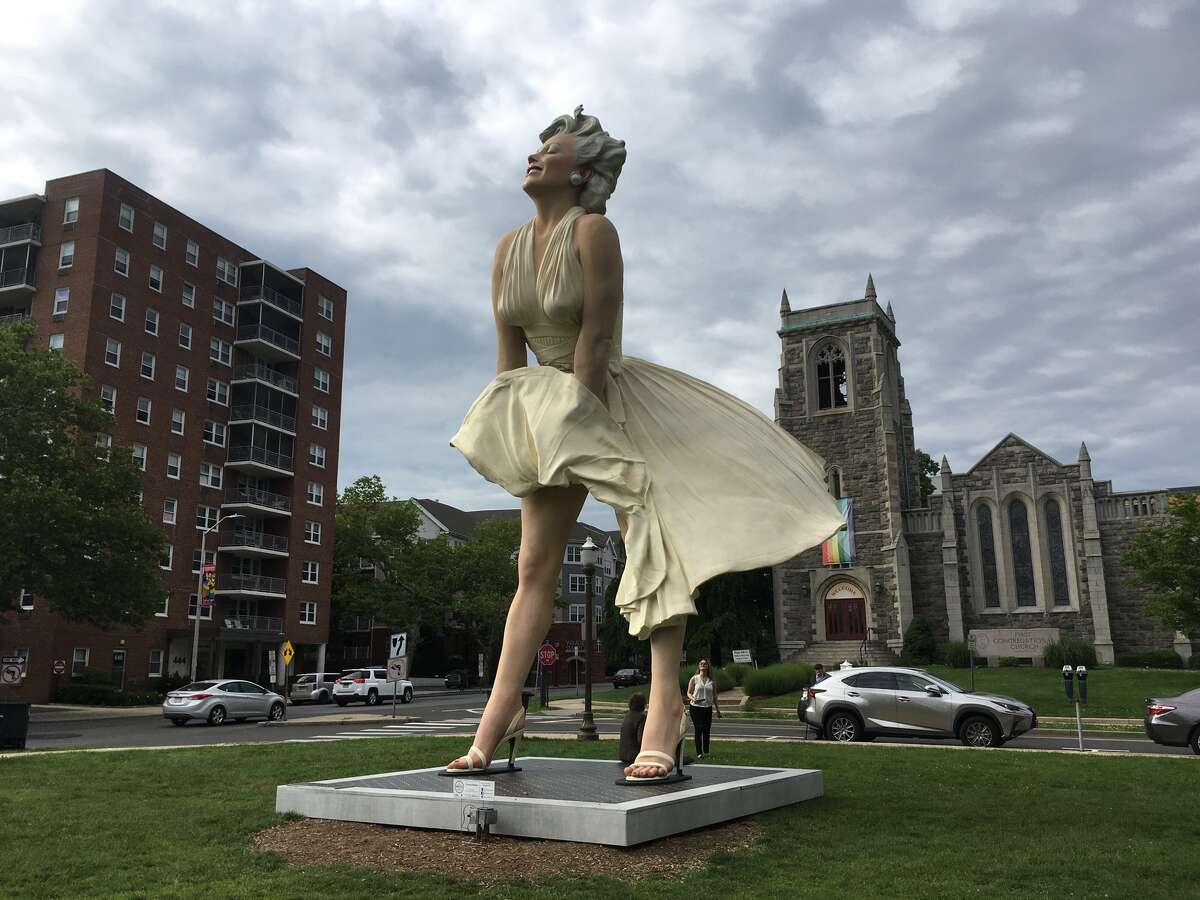 The completed Marilyn Monroe statue in Stamford on June 6, 2018.