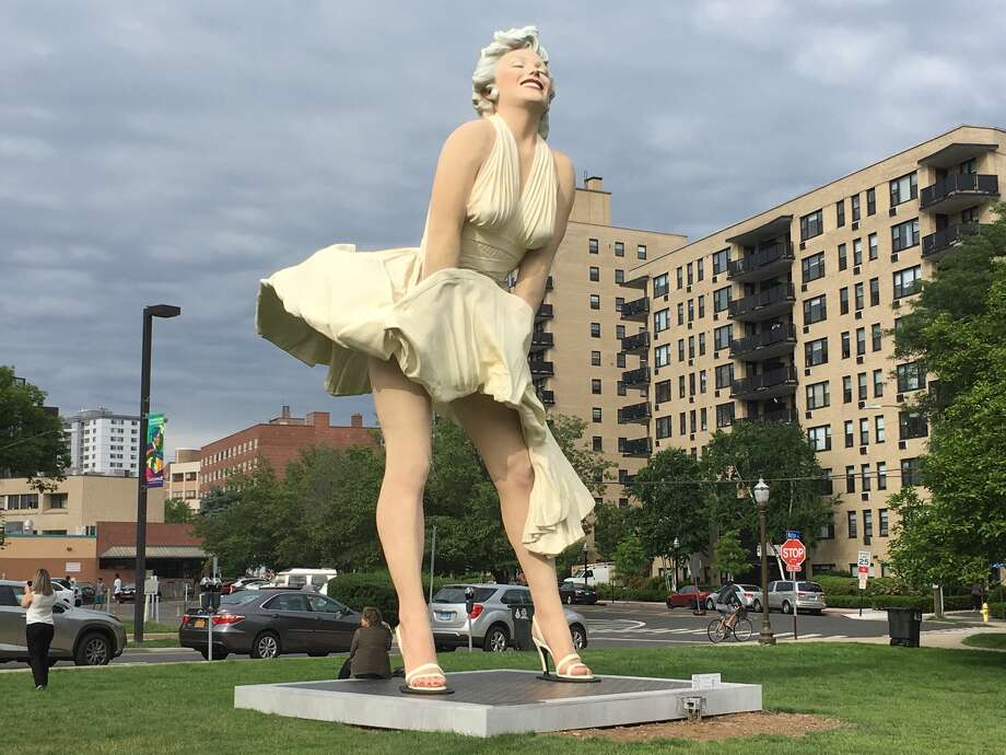 The completed Marilyn Monroe statue in Stamford on June 6, 2018. Photo: Christina Hennessy