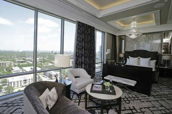 A view of the master bedroom in the Presidential Suite at the Post Oak Hotel, 1600 West Loop South, Tuesday, June 5, 2018, in Houston.  ( Melissa Phillip / Houston Chronicle )