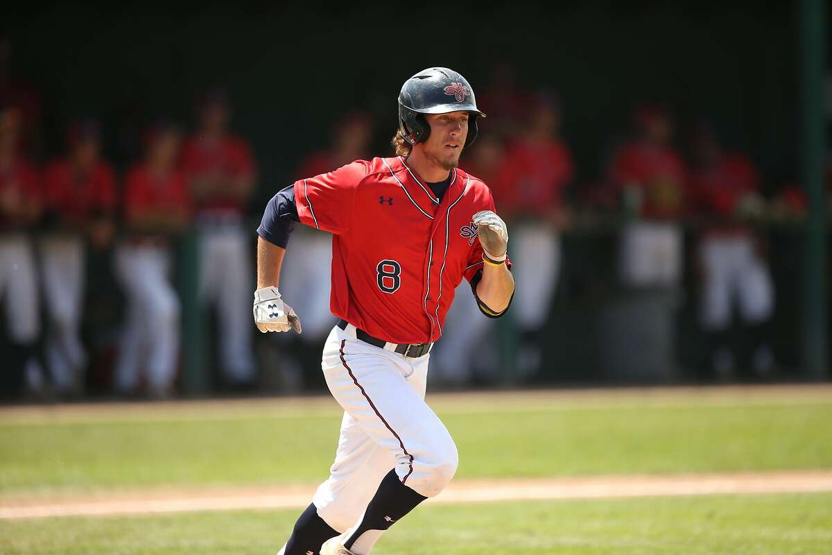 Austin Piscotty runs to first base on May 13, 2018, at Louis Guisto Field on the campus of Saint Mary's College in Moraga, Calif., in the Gaels' game versus Pepperdine University, which the Gaels would win, 12-8.