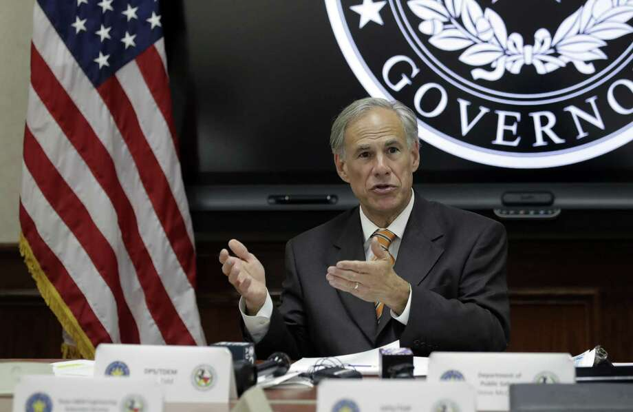 Texas Gov. Greg Abbott speaks to fellow state officials and media following a video teleconference briefing on this year's hurricane season hosted by President Donald Trump, Wednesday, June 6, 2018, in Austin, Texas. (AP Photo/Eric Gay) Photo: Eric Gay, STF / Associated Press / Copyright 2018 The Associated Press. All rights reserved.