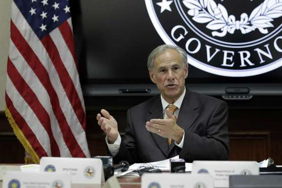 Texas Gov. Greg Abbott speaks to fellow state officials and media following a video teleconference briefing on this year's hurricane season hosted by President Donald Trump, Wednesday, June 6, 2018, in Austin, Texas. (AP Photo/Eric Gay)