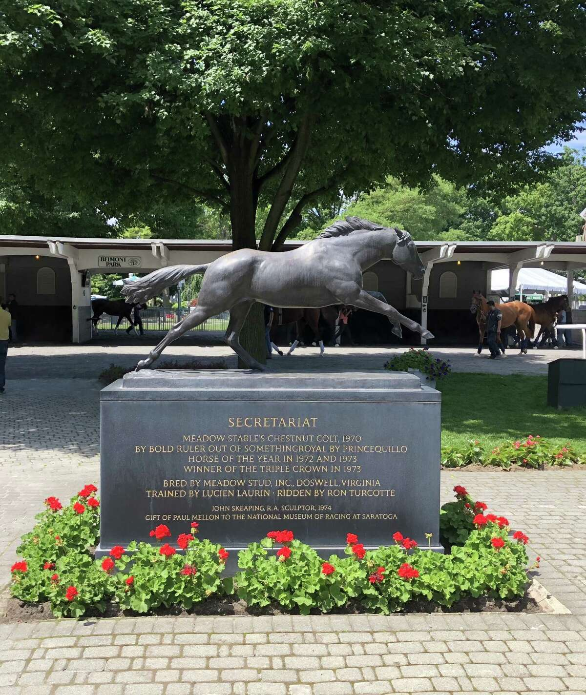 This is the statue that watches over the horses in the Belmont paddock day in and day out. The great Secretariat, who won the 1973 Triple Crown, is the standard for every horse that runs, especially those that compete in the Classic races. Remember his 1973 Belmont when he won by a still-record 31 lengths? The Belmont Stakes will be run for the 150th time on Saturday with the unbeaten Justify looking to gain entrance to the exclusive Triple Crown club. (Tim Wilkin / Times Union)