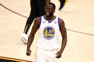 CLEVELAND, OH - JUNE 06:  Draymond Green #23 of the Golden State Warriors reacts against the Cleveland Cavaliers in the first quarter during Game Three of the 2018 NBA Finals at Quicken Loans Arena on June 6, 2018 in Cleveland, Ohio. NOTE TO USER: User expressly acknowledges and agrees that, by downloading and or using this photograph, User is consenting to the terms and conditions of the Getty Images License Agreement.  (Photo by Gregory Shamus/Getty Images)