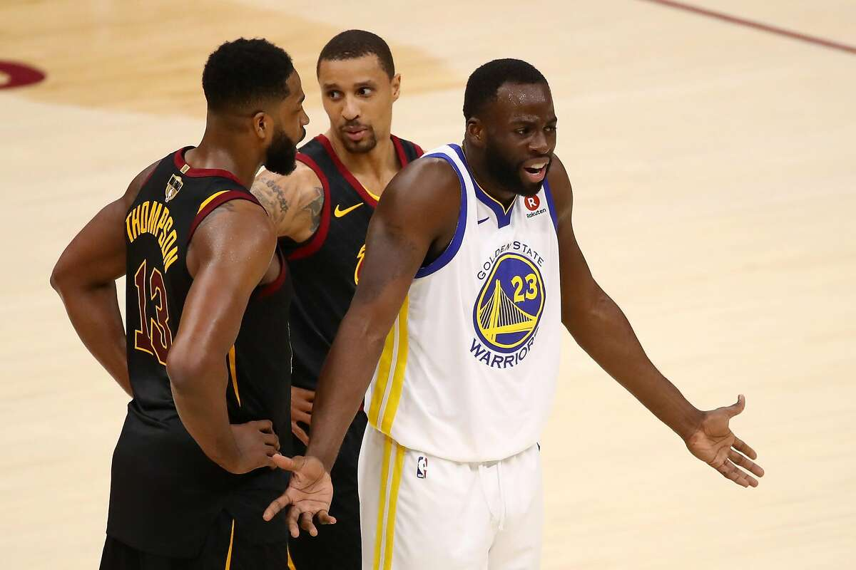 Draymond Green #23 of the Golden State Warriors reacts against the Cleveland Cavaliers in the first quarter during Game Three of the 2018 NBA Finals at Quicken Loans Arena on June 6, 2018 in Cleveland, Ohio.