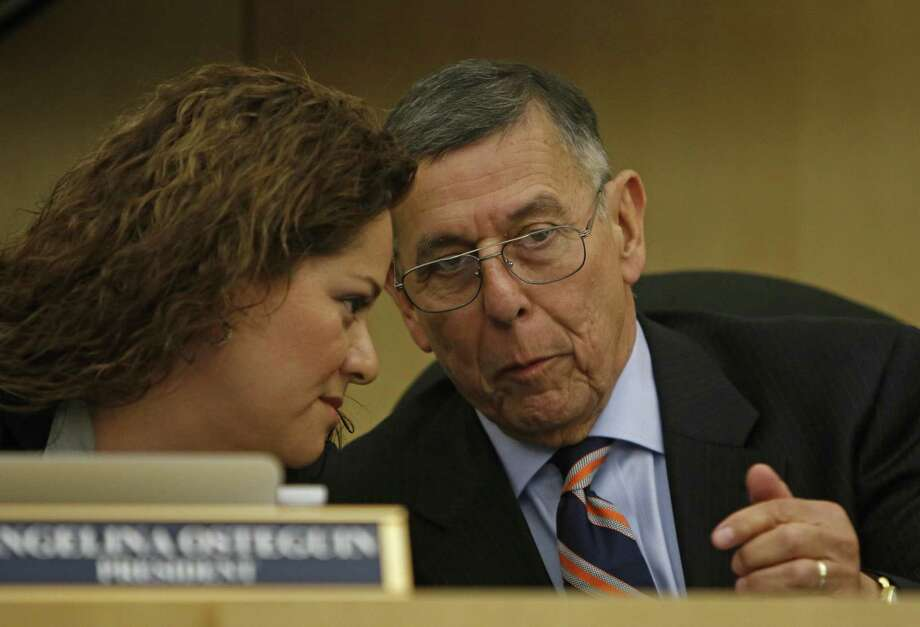 South San ISD Superintendent Abelardo Saavedra, seen with board president Angelina Osteguin on April 19, 2017, announced Wednesday night that he will leave the district when his contract expires. Photo: Ron Cortes /Ronald Cortes / Freelance