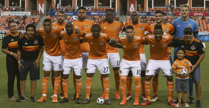 Houston Dynamo starting lineup poses for a photograph before the MLS game against the New York City at BBVA Compass Stadium on Friday, May 25, 2018, in Houston. ( Yi-Chin Lee / Houston Chronicle )